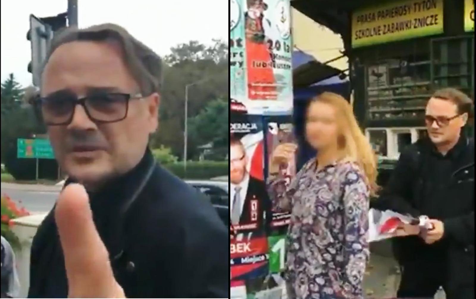 Radny Adam Opałka zrywa plakaty wyborcze