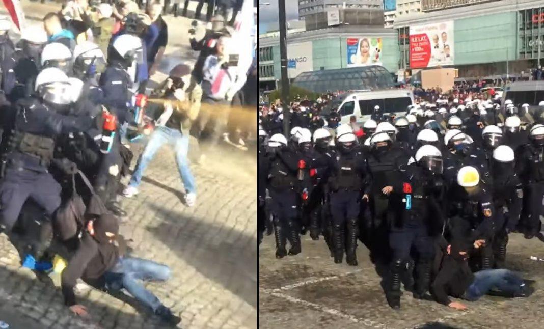 Protest antymaseczkowy w Warszawie: Policja pałuje i gazuje demonstrantów!