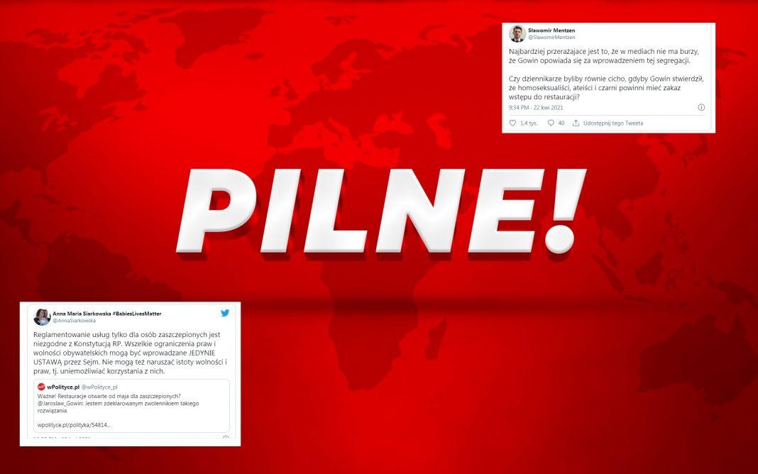 propolski.pl: Apartheid sanitarny. Gowin popiera restauracje tylko dla zaszczepionych. Mentzen i posłanka PiS nie wytrzymali