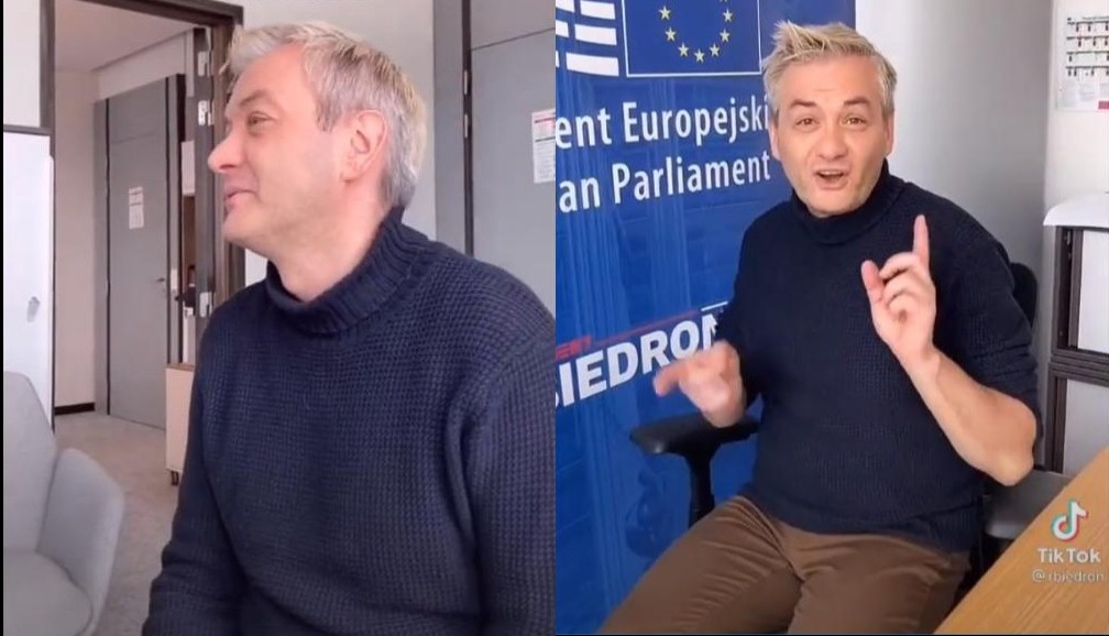 propolski.pl: Tańce Roberta Biedronia na krześle. W taki sposób