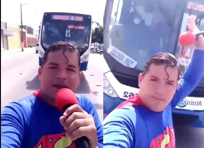 propolski.pl: Próbował zatrzymać autobus w stroju Supermana. Niestety miał pecha [WIDEO]