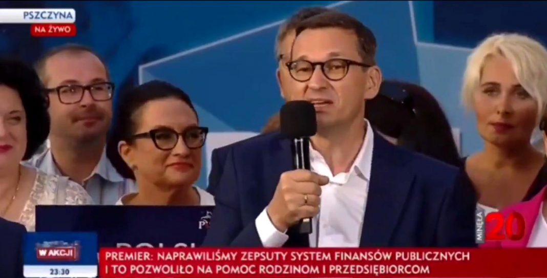 propolski.pl: Przeciwnicy zagłuszali wystąpienie premiera Morawieckiego, ten szybko ich usadził